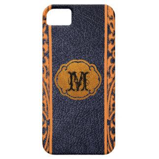 Damasco anaranjado de cuero negro iPhone 5 Case-Mate carcasa