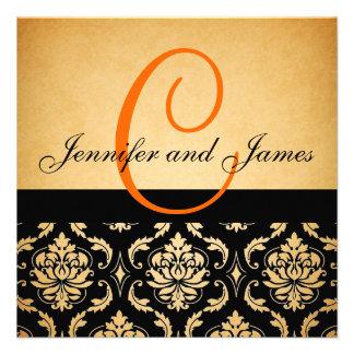 Damasco anaranjado del monograma de la invitación