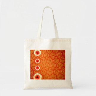 Damasco anaranjado del vintage y margaritas rosada bolsa tela barata