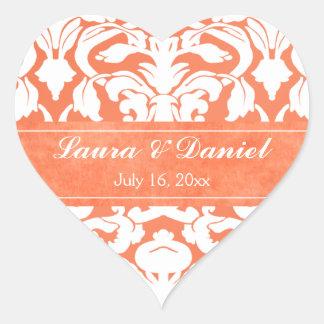 """Damasco anaranjado y blanco 1,5"""" pegatina del boda"""