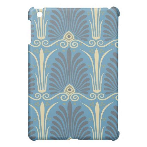 damasco antiguo de color topo y azul enrrollado