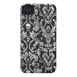 Damasco apenado blanco y negro del cráneo iPhone 4 Case-Mate funda