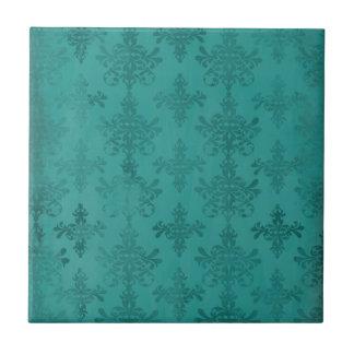 damasco apenado oscuro del verde azul del trullo azulejo cuadrado pequeño