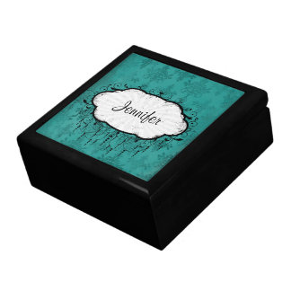 damasco apenado oscuro del verde azul del trullo caja de recuerdo