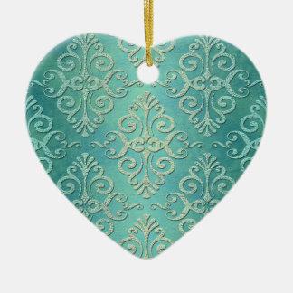 Damasco apenado verde hermoso del trullo adorno de cerámica en forma de corazón