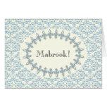 Damasco árabe del azul de la enhorabuena del mabro tarjeton