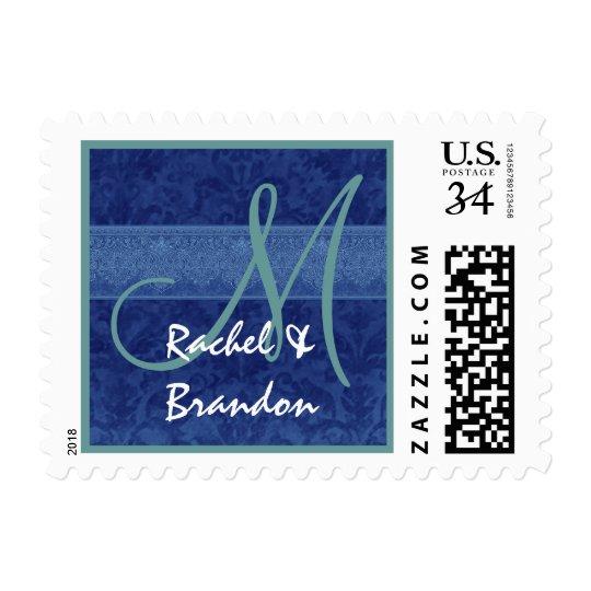 Damasco azul A727 de MonogramNavy del boda Timbre Postal