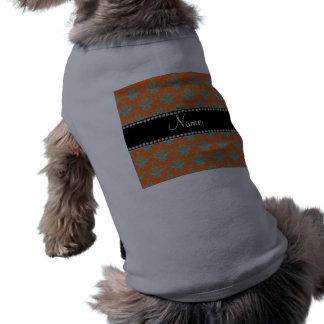 Damasco azul anaranjado conocido personalizado camisetas mascota