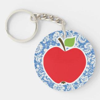 Damasco azul Apple Llavero