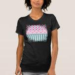 Damasco azul Coll de las rayas de los círculos del Camiseta