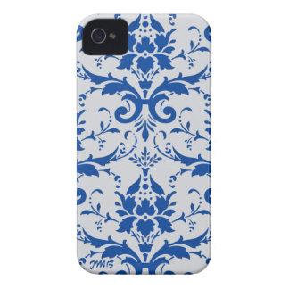Damasco azul de cobalto iniciales grises claras iPhone 4 Case-Mate cárcasas