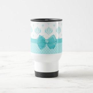Damasco azul de la aguamarina con la cinta de la t tazas de café