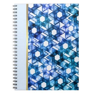 Damasco azul de la estrella de la acuarela del libros de apuntes con espiral