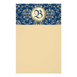 Damasco azul de medianoche del oro medieval con cl personalized stationery