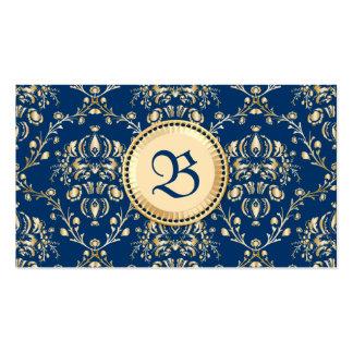 Damasco azul de medianoche del oro medieval con tarjetas de visita