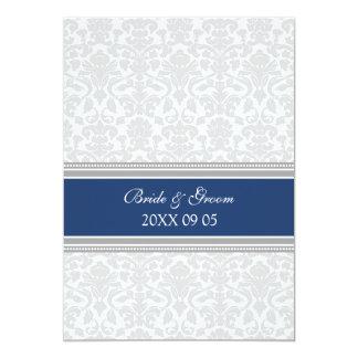 """Damasco azul del blanco gris de las invitaciones invitación 5"""" x 7"""""""