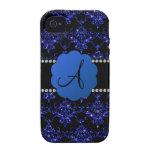Damasco azul del brillo del monograma iPhone 4/4S carcasa