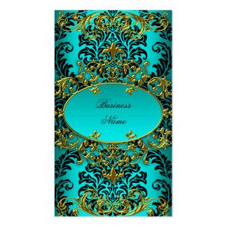 Damasco azul del oro del trullo con clase elegante tarjetas de visita