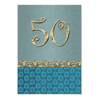 """Damasco azul elegante del oro 50.o CUALQUIE EDAD Invitación 5"""" X 7"""""""