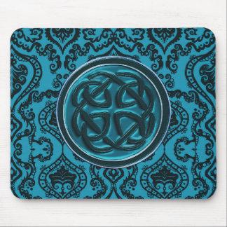 Damasco azul elegante y nudo céltico alfombrillas de ratón