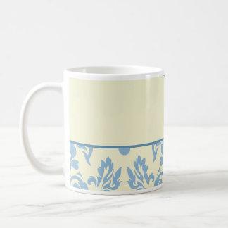 Damasco azul en el boda poner crema del fondo taza de café