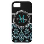 Damasco azul femenino del negro del brillo iPhone 5 carcasas