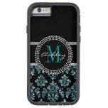 Damasco azul femenino del negro del brillo funda de iPhone 6 tough xtreme
