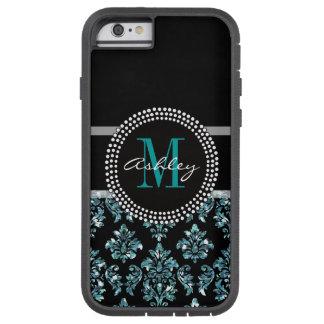 Damasco azul femenino del negro del brillo funda tough xtreme iPhone 6