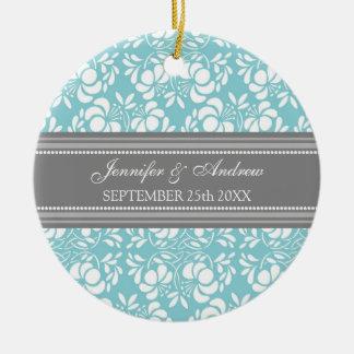 Damasco azul gris del favor del ornamento del boda ornamente de reyes