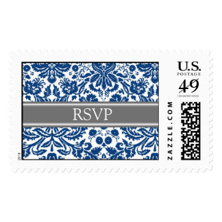 Damasco azul gris RSVP que casa sellos