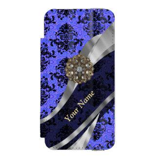 Damasco azul marino personalizado del vintage funda billetera para iPhone 5 watson
