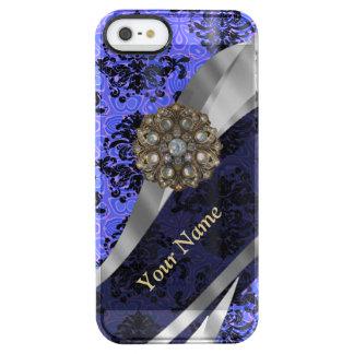 Damasco azul marino personalizado del vintage funda clearly™ deflector para iPhone 5 de uncommon