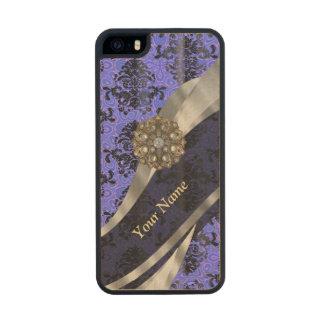 Damasco azul marino personalizado del vintage funda de arce carved® para iPhone 5 slim