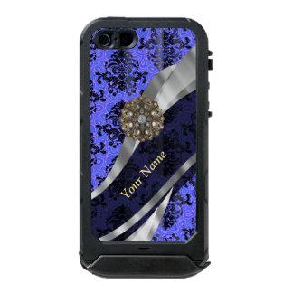 Damasco azul marino personalizado del vintage funda para iPhone 5 incipio ATLAS ID