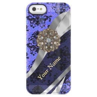 Damasco azul marino personalizado del vintage funda permafrost™ deflector para iPhone 5 de uncom