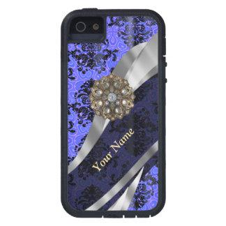 Damasco azul marino personalizado del vintage iPhone 5 fundas