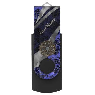 Damasco azul marino personalizado del vintage memoria USB 2.0 giratoria