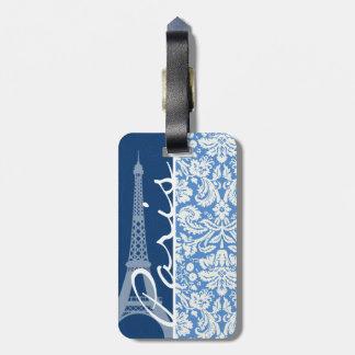 Damasco azul; París Etiquetas Bolsa