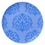 Damasco azul platos de comidas