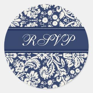 Damasco azul que casa los sellos del sobre de RSVP Pegatina Redonda