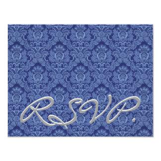 """Damasco azul rico RSVP que casa la tarjeta de la Invitación 4.25"""" X 5.5"""""""