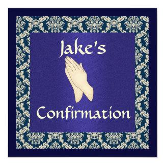 """DAMASCO azul y beige de la confirmación Invitación 5.25"""" X 5.25"""""""