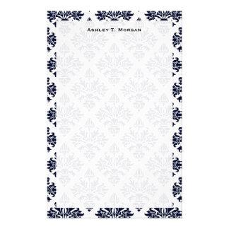 Damasco azul y blanco #3 de la apariencia vintage papelería personalizada