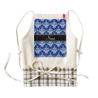 Damasco azul y blanco conocido personalizado delantal zazzle HEART