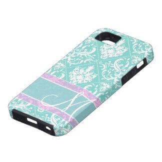 Damasco azul y blanco del trullo elegante con el m iPhone 5 Case-Mate fundas