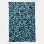 damasco azul y de medianoche del trullo elegante toallas de mano