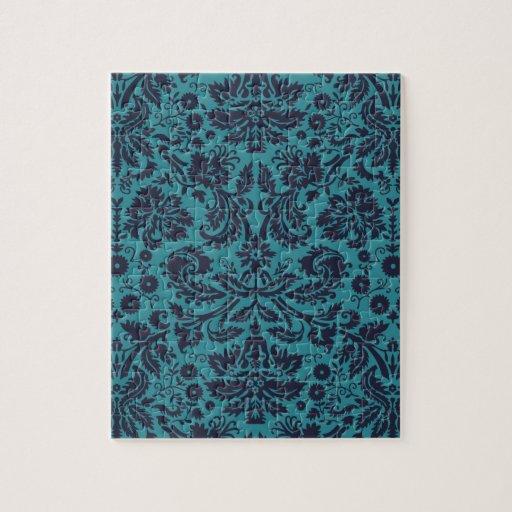 damasco azul y de medianoche del trullo elegante puzzle
