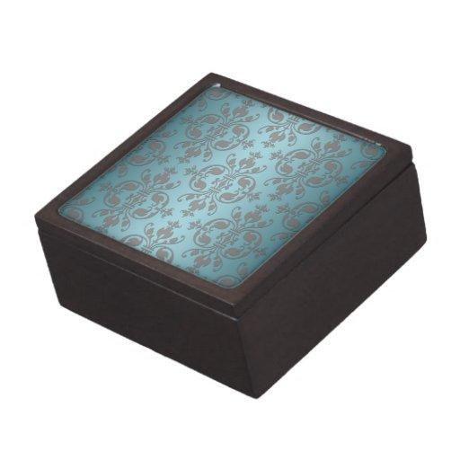 Damasco azul y gris del trullo de lujo cajas de regalo de calidad