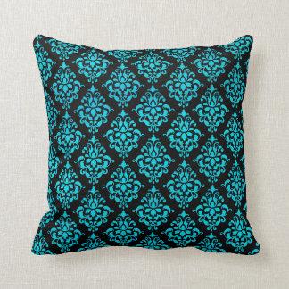 Damasco azul y negro del trullo almohadas