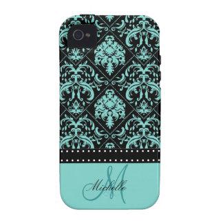 Damasco azul y negro del trullo personalizado vibe iPhone 4 fundas